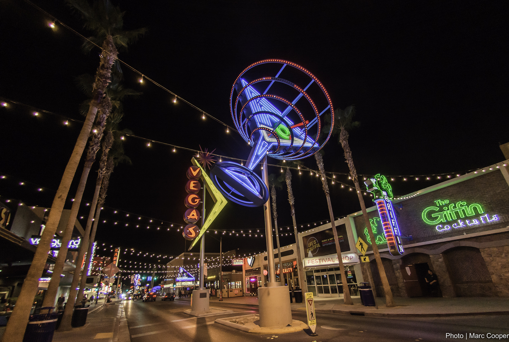 Martini glass, neon sign in the Fremont East District in Downtown Las Vegas