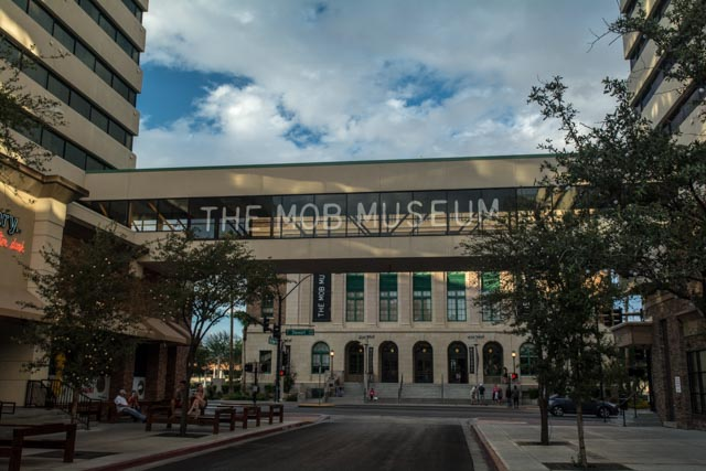 Exterior front door of The Mob Museum in Downtown Las Vegas