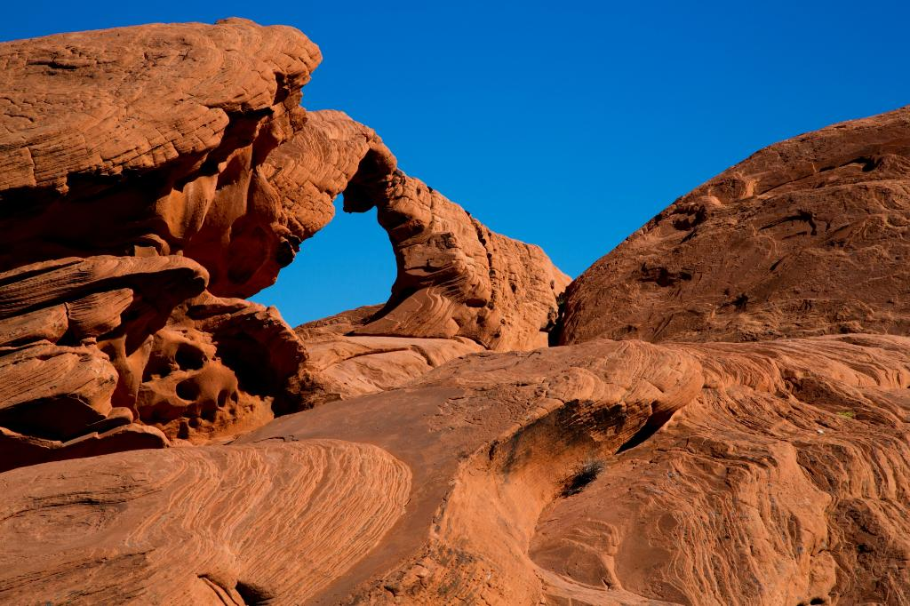 Red rocks in the mountains and a blue sky