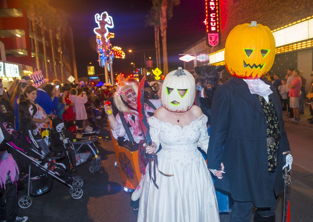 Variety of people dressed up in Halloween costumes while celebrating the holiday in Downtown Las Vegas