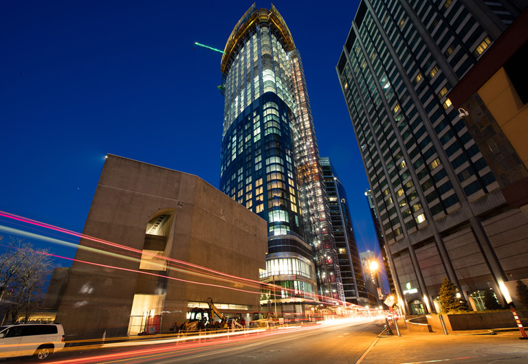 View of the One Dalton condo tower in Boston.