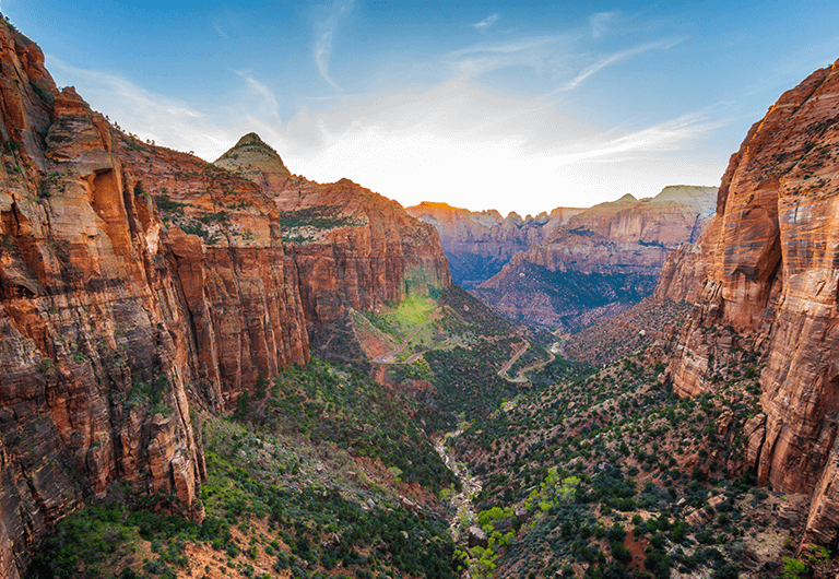 View from above of Zion National Park in Utah.
