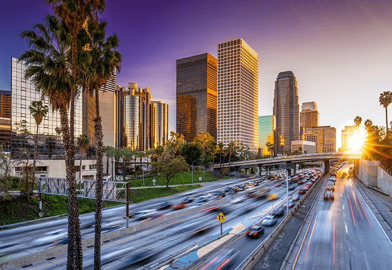 View of Los Angeles buildings and surrounding roads.