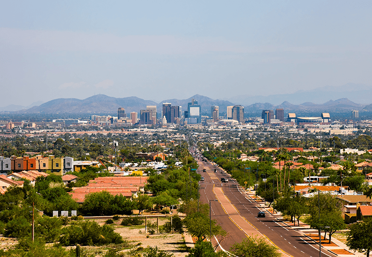 View of the city of Phoenix from a distance.