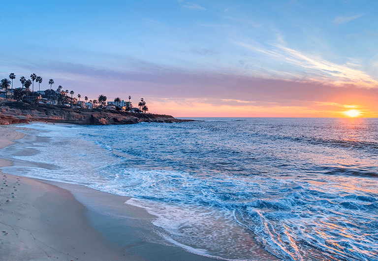 View of the San Diego beach in La Jolla.