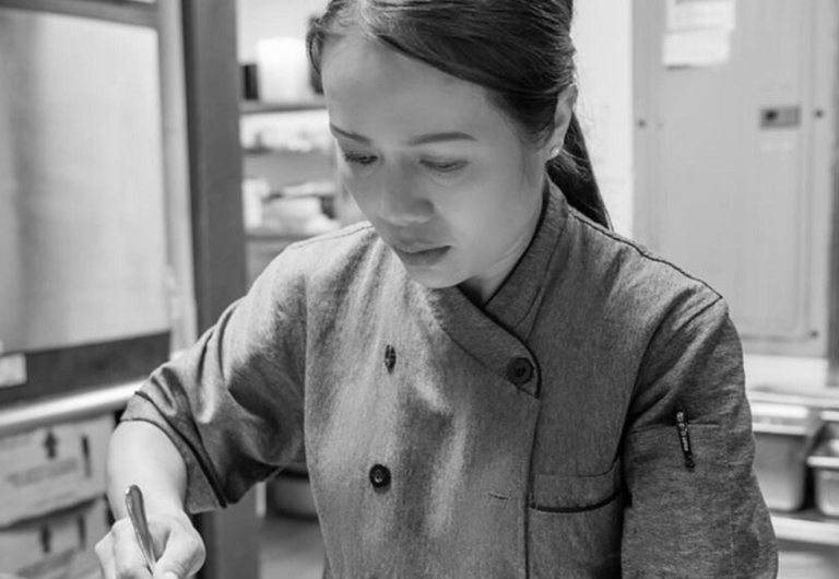 Chef Nittaya Parawong cooking up something delicious at Block 9.
