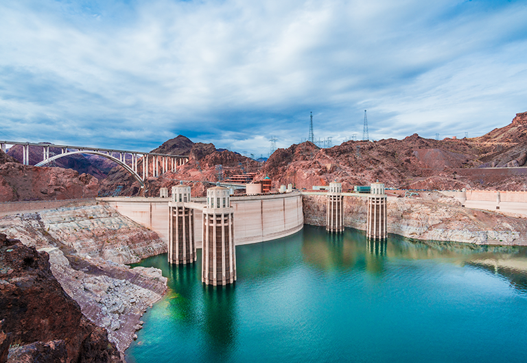 Aerial view of the Hoover Dam, located 30 minutes from Las Vegas.