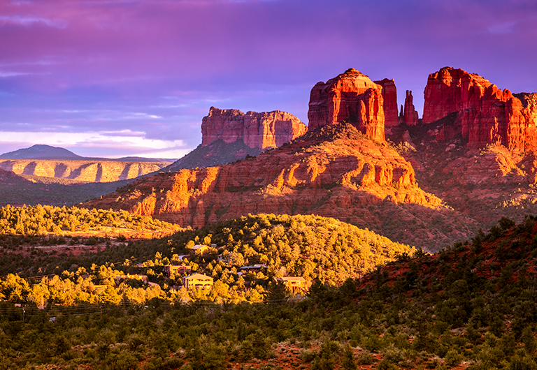 Cathedral Rock in Sedona, AZ during sunset