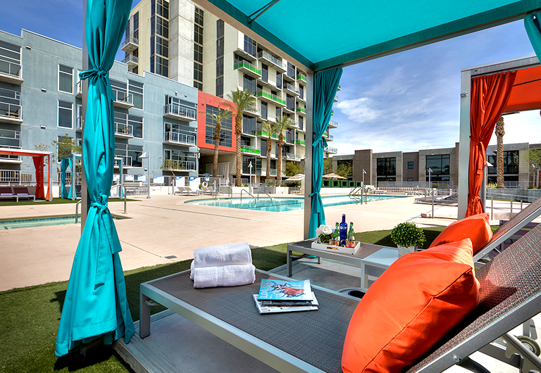Pool and cabanas at Juhl.