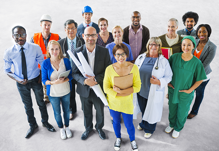 Group of people representing a variety of different jobs