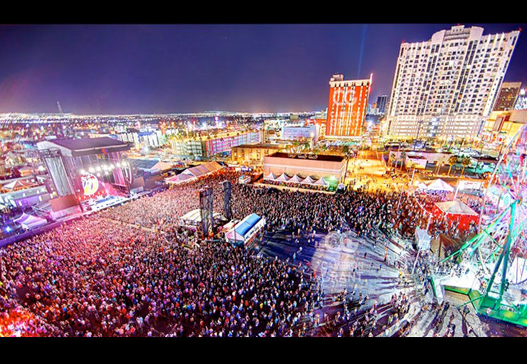 Aerial view of Las Vegas music festival, Life is Beautiful.